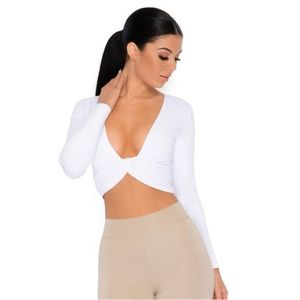 "Oh Polly ""Why knot double layered crop top"" white"